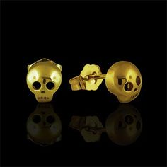 small yellow gold skull stud earrings