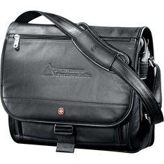 "Wenger Black Executive Leather 17"" Computer Messenger"
