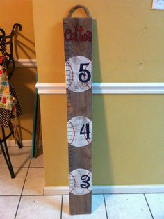 Baseball Growth chart- I like the idea of making my own with old wood, I may have to do this