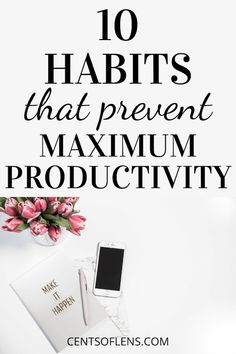 Do you find it difficult to achieve high levels of productivity? Find out which 10 habits prevent maximum productivity and address them now! Productive Things To Do, Positive Mindset, Success Mindset, Growth Mindset, Time Management Skills, Improve Productivity, Good Habits, Healthy Habits, Work From Home Tips