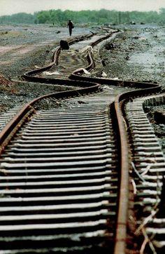 Train tracks JUST a bit off...NOT Good! wow.