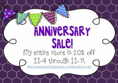Mrs. Lowes' Kindergarten Korner: I'm Throwing an Anniversary Sale! My entire store is 20% off 11-4 through 11-7!