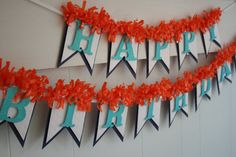 Blue and Orange Birthday Banner Happy by LittlePumpkinPapers