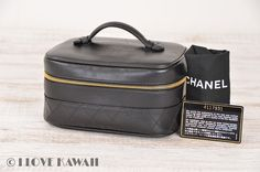 CHANEL Black Leather Diamond Stitches Vanity Cosmetic Bag