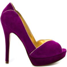 You deliver a classic stylish pump, so why not indulge with the Aliza. This Ivanka Trump style brings you a rich purple suede with accenting gold piping. A simple peep toe, 5 inch heel and 1 inch platform completes this luxurious silhouette. Purple Heels, Purple Suede, Gold Heels, Stiletto Heels, Purple Haze, Stilettos, Lilac, High Heels, Pink