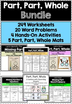 This bundle contains 6 of my part, part, whole resources. There are 249 worksheets, 4 centers, and 20 word problems included. Perfect for small groups, independent practice, and centers. Hands On Activities, Math Activities, Math Games, Teacher Tools, Classroom Tools, Classroom Resources, Creative Teaching, Teaching Ideas, First Grade Math