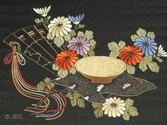 """Chrysanthemum Festival"" Japanese Embroidery (silk threads on silk)."