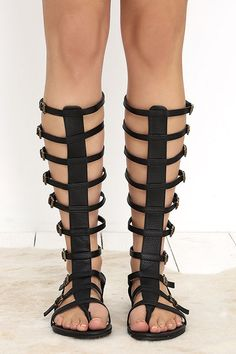 efe6218fb Very Volatile Atticus Black Tall Gladiator Sandals