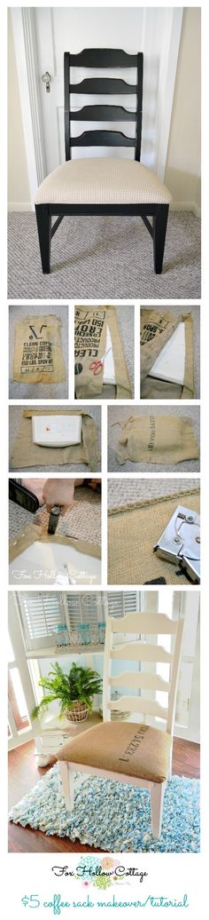 Easy Budget Friendly Re Upholstery: Coffee Sack Chair Makeover. #repurpose #upholstery