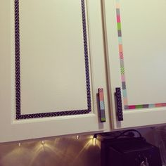 Washi tape kitchen cabinets - cheap and easy rental DIY!
