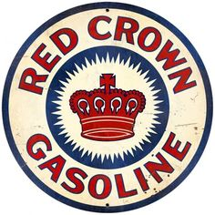 Vintage and Retro Wall Decor - JackandFriends.com - Retro Red Crown Gasoline Large Tin Sign, $99.97 (http://www.jackandfriends.com/vintage-retro-red-crown-gasoline-large-metal-tin-sign/)
