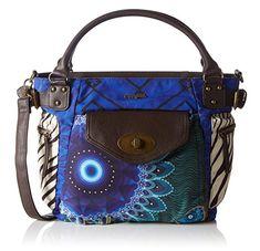 #Desigual Tasche - Modell Fun Zebra. Muster: geometrisch und Mandala, blau.