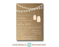 Rustic, Mason Jar Shower Invitation or Wedding Invitation- Printable File-Custom Design- Pink Lace Invite. Click through to find matching games, favors, thank you cards, inserts, decor, and more. Or shop our 1000+ designs for all of life's journeys. Weddings, birthdays, new babies, anniversaries, and more. Only at Aesthetic Journeys