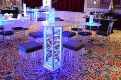 Club Theme Bar Mitzvah Event Decor Glowing Cocktail Tables Blue & Silver Color Scheme Party Perfect Boca Raton, FL 1(561)994-8833