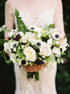romantic rose and anemone bouquet by berries and ferns by Rosehip Social