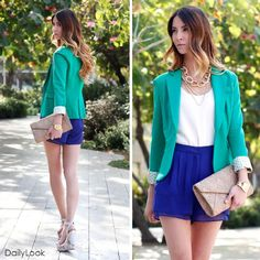 Aqua green blazer with blue skirt. Love the pop of color. Classy Outfits, Cool Outfits, Spring Summer Fashion, Autumn Fashion, Cute Blazers, Professional Outfits, Fashion Beauty, Womens Fashion, Classy And Fabulous