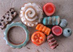 Baja Coast Bead Set  Handmade Ceramic Beads by ktotten on Etsy,