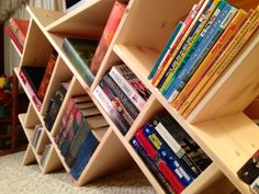 Unique book shelf,  love it! https://www.etsy.com/listing/172645370/sideways-bookcase
