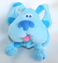 """Viacom 1998 Nick Jr. Blue's Clues 12"""" BLUE Soft BEANBAG PLUSH Floppy Puppy Dog #Viacom"""
