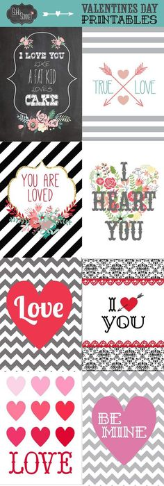 A Pretty Collection of a Variety of darling Valentine's Day FREE PRINTABLES! via SohoSonnet Creative Living