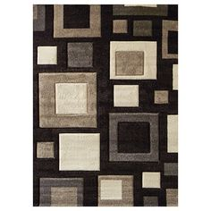 Studio 601 Geometric Square Design Chocolate Area Rug (5'x7') | Overstock.com  $173