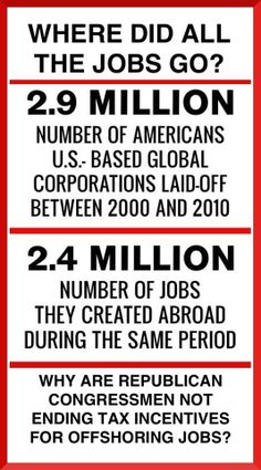 Free trade laws allowed jobs to go overseas.  Republicans and Democrats have both made it possible, and even rewarded companies for moving jobs.