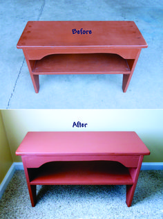 Wanted to match the color and freshen up this already painted vintage bucket bench. Homemade Chalk Paint in Terra Cotta color using Home Depot's Behr flat paint tinted sample with 2 Tbsp. Calcium Carbonate and 1 Tbsp. water added to the sample.
