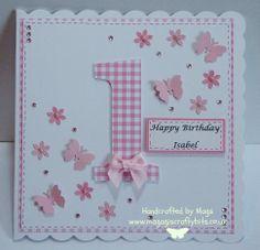 21 Ideas Baby First Birthday Card Cute Ideas Baby Birthday Card, First Birthday Cards, Homemade Birthday Cards, Bday Cards, 1st Birthday Girls, Homemade Cards, Children Birthday Cards, Happy Birthday, Baby Girl Cards