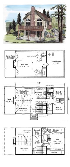 Narrow Lot House Plan 24705 | Total Living Area: 1562 sq. ft., 3 bedrooms and 2 bathrooms. The great room partners with the dining room under cathedral ceilings. A fireplace and double French doors to the deck augment the space. The kitchen with breakfast counter has an eye for entertaining. #narrowlothome