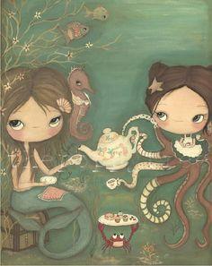 Mermaid , Octopus Print---Tea Under The Sea LARGE PRINT 11 x 14. $35.00
