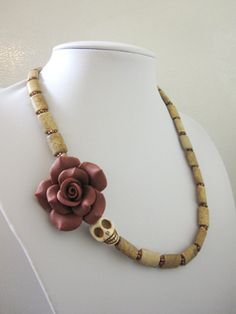 Sugar Skull Necklace White Sand Brown Mocha Red by sweetie2sweetie, $29.99