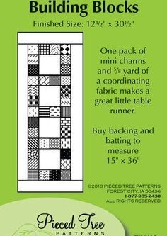 Building Blocks Table Runner Pattern by Pieced Tree Patterns at Creative Quilt Kits