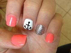New nails with anchor! Coral colors, sparkles, summer nails