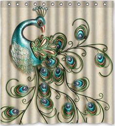 SANMOU Beautiful Peacock Pattern Popular Bath Curtain Shower Curtain 60 x 72 with Hooks *** Details can be found by clicking on the image. Peacock Shower Curtain, Peacock Bathroom, Shower Curtain Sets, Bathroom Shower Curtains, Colorful Bathroom, Peacock Pattern, Peacock Art, Peacock Theme, Peacock Feathers