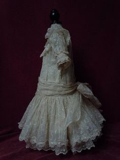 Gorgeous Old organza Dress w/ Petticoat Headband for huge german french bisque doll