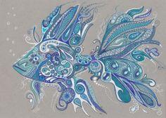 LWick ACEO *PRINT* zentangle inspired doodle beautiful blue fish
