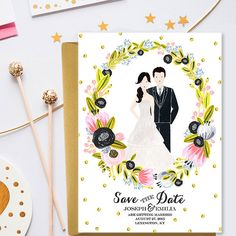 Personalized save the date card, wedding portrait, wedding invitation - custom couple portrait - custom wedding illustration digital invite  This is