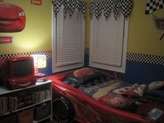 Disney Cars Lightning Mcqueen/ Mater Room, My 3 year old is a fan of the Disney Cars movie. His favorite car being Lightning Mcqueen and Mater. I was inspired by the rug and the checkered border around it. Disney Cars Bedroom, Car Bedroom, Bedroom Themes, Kids Bedroom, Bedroom Decor, Bedroom Ideas, Lightning Mcqueen Bed, Basketball Bedroom, Boys Room Design