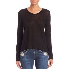 Wilt Raw-Hemmed Linen Long-Sleeved Tee ($85) ❤ liked on Polyvore featuring tops, t-shirts, apparel & accessories, twisted tees, long sleeve crop top, purple tee, linen t shirt and scoop neck tee