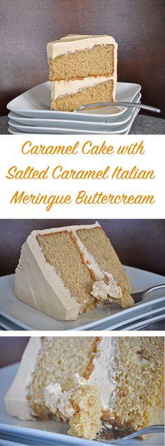 Caramel Cake Salted Caramel Italian Meringue Buttercream #cupcake #food