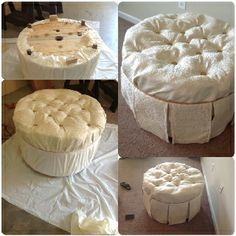 Ottoman from wooden spool.