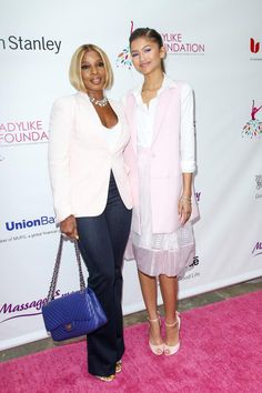 Zendaya with Mary J. Blige at the LadyLike Foundation Women of Excellence Scholarship Luncheon in LA 06/13/15