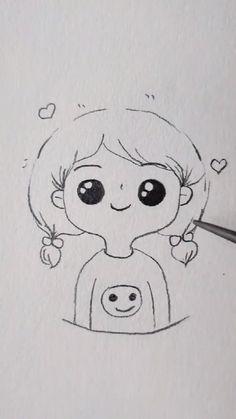 Easy Doodles Drawings, Easy Cartoon Drawings, Cute Easy Drawings, Art Drawings Beautiful, Girly Drawings, Art Drawings For Kids, Art Drawings Sketches Simple, Pencil Art Drawings, Small Drawings