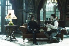 Tim Burton and Johnny Depp on the set of Dark Shadows (2012)