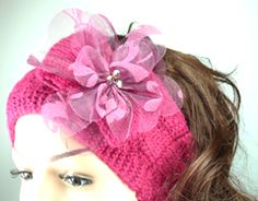 Burgundy Red Wool Knitted Headband with Burgundy Red Organza Flower