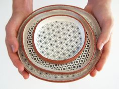 Glass, ceramic, vessels / Three Tapas Plates - Ceramic Plate Set - Geometric Plates - Pottery Plates - MADE TO ORDER