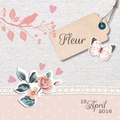 Geboortekaartje Fleur is een echt vintage geboortekaartje met mooie stoffen achtergrond met kanten strook en daarop een hip label en vintage illustraties als vlinder, vogel en rozen.
