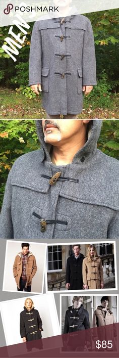 Men's Gloverall Classic Duffel Coat This coat is amazing, and in excellent condition.  Made in England, and originally manufactured for the British army, it's made to withstand the elements of the freezing cold, and constructed to last a lifetime.  Made of fine Italian wool (with 20% polyamide), it has an oversized fit (great for layering), buffalo toggles with leather loop fasteners, a pancake hood, and fixed shoulder cape.  Unlined.  Gray outside, cream inside.  Men's size 44 (US) / 54 (54…