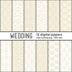 Repeatable patterns: Almond DAMASKS 12 Digital Papers pattern set  by arrowisp #tan #almond #cream #white #ivory #wedding #printable #download #invitations
