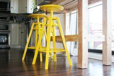 yellow IKEA bar stools